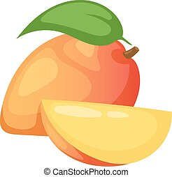 Mango fruit vector illustration - Slices of mango fruit and...