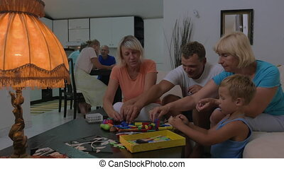 Family leisure with playing toys together