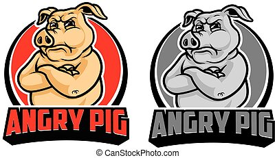 Angry Pig Cartoon Logo - Vector Design of Animated Angry Pig...