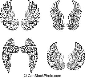 Cartoon angel wings collection set