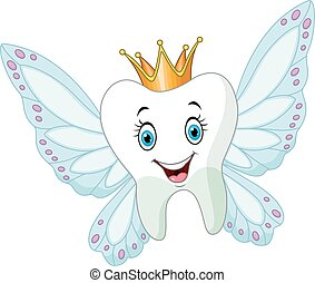 Cute tooth fairy flying - Vector illustration of Cute tooth...