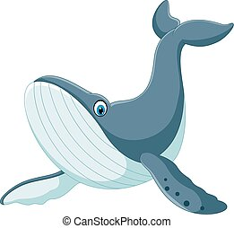 Happy blue whale cartoon - Vector illustration of Happy blue...