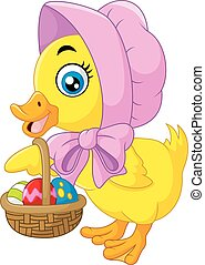 Cute duck with bucket of eggs. - Vector illustration of Cute...