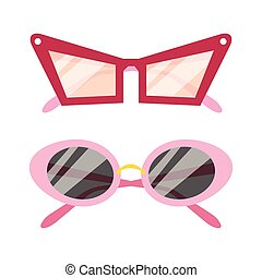 Vector Sunglasses icon set - Two flat vector Sunglasses...