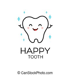 Healthy cute cartoon tooth character