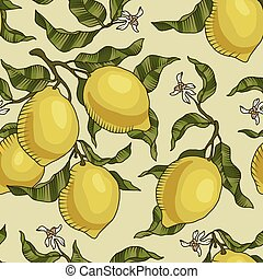 Vector pattern with lemon branches.
