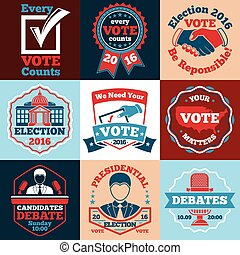 Set of Vote vector labels, badges for elections etc. - Vote...