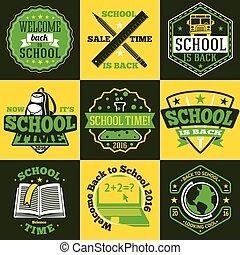 Vector School labels set With schoolbus, book, backpack,...