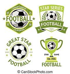 Vector set of green vintage Football labels. With laurel...