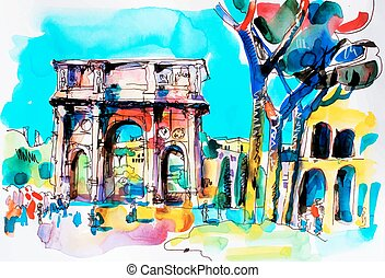 original freehand watercolor travel card from Rome Italy,...