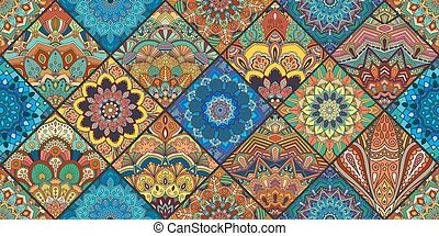 Colorful Square Boho Tiles - Boho tile background. Colorful...