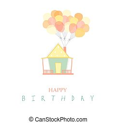 House with balloon on birthday card