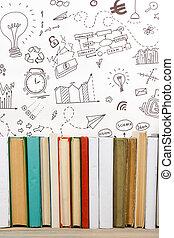 escuela, no, viejo, anuncio, espacio, de madera, estante,...