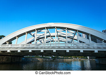 Bridge across Singapore river. Close up of Elgin bridge....