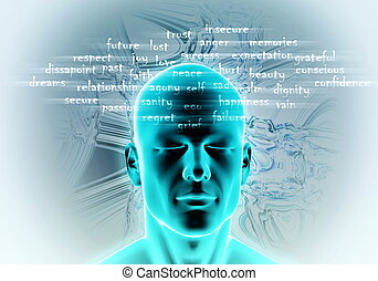 Human Mind and emotion - Conceptual image of human mind and...