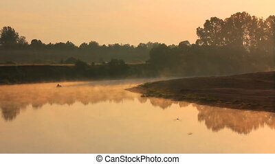 landscape with fishing at dawn on river