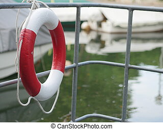 Lifebuoy outside at a harbour