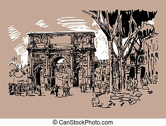 sketch digital sepia drawing Rome Italy landmark - arch of...