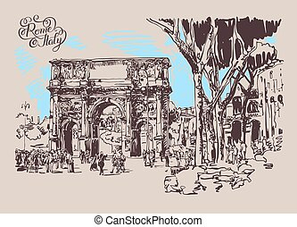 original sketch digital drawing Rome Italy landmark -...