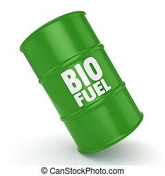 3D rendering barrel of biofuels - 3D rendering green barrel...