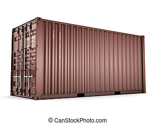 3D rendering Isolated cargo container on the white...