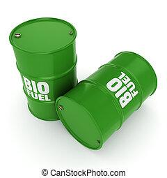 3D rendering barrels of biofuels - 3D rendering green...