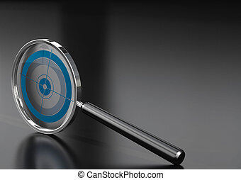 special marketing tool - magnifying glass with a target in...