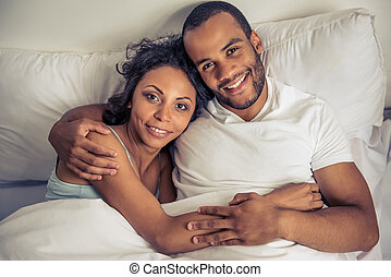 Afro American couple - Top view of beautiful young Afro...