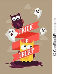Trick or Treat Halloween poster Vector illustration
