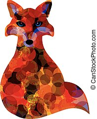 Fox Sitting Abstract Illustration - Fox Sitting Bokeh Paint...