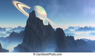 Saturn On A Background Alien Landsc - Mountain peaks rise...