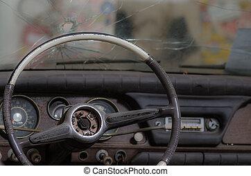 car with bullet hole - old car with a bullet hole