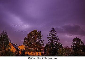 lightning at night sky