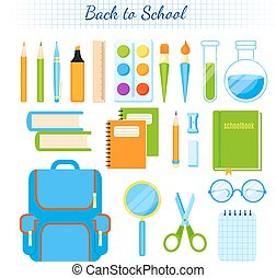 School supplies vector set.