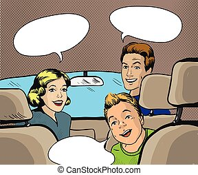 Family sitting in the car looking back. Vector illustration...