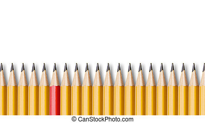Red pencil standing out from crowd of yellow pencils