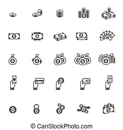 vector Money and coin icon set on white background