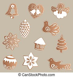 set of gingerbread cookies - Drawing of a Set of gingerbread...