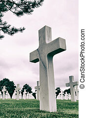White crosses in American Cemetery, Coleville sur-Mer, Omaha...