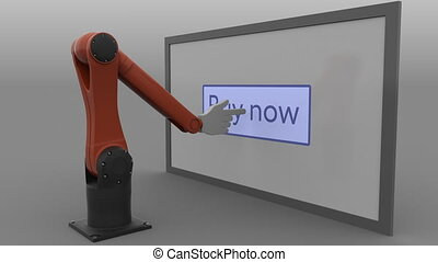 Stylized robot arm clicking Buy now button on the screen....