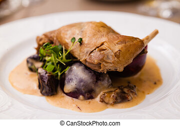 Stewed rabbit leg with black plum sauce