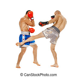Kickboxers sparring on white - Two kickbox fighters...