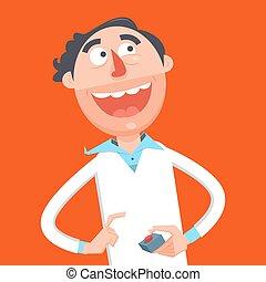 Happy scientist press red button cartoon vector