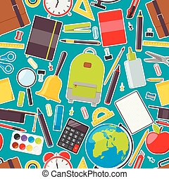 Seamless pattern of school supplies. Vector illustration