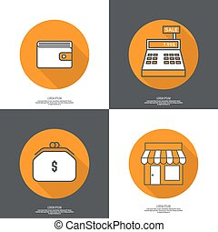 Set of vector icons pictograms in flat style of mobile and...