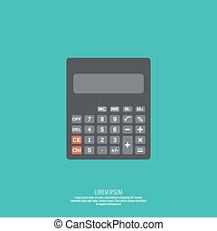 Calculator top view. Vector icon. Flat design