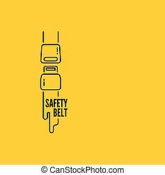 symbol of the security. - Vector thin line icon safety belt....