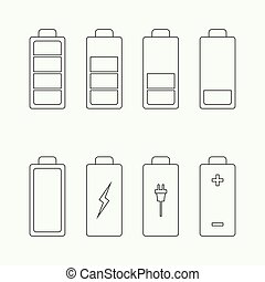 Icons battery charge indicator. Vector. For mobile and web...