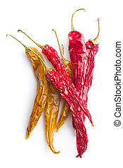 Yellow and red dried chili peppers - Yellow and red dried...