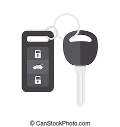 Car Key with Remote Control. Vector